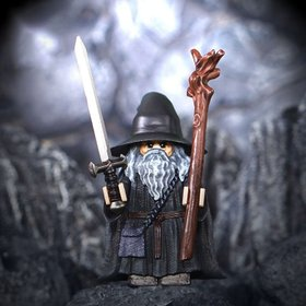 Custom Lego Minifigure Gandalf the Grey from Lord of the Rings